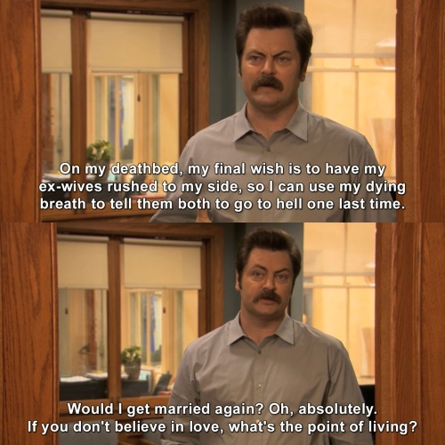 Parks and Recreation - Would I get married again?