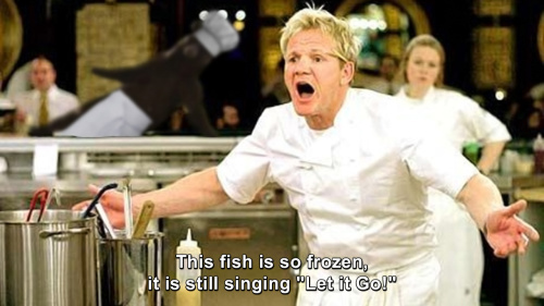 Hells Kitchen - This fish is so Frozen that it is still singing