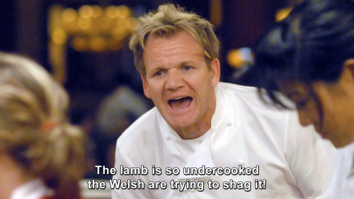 Hells Kitchen - The lamb is so undercooked the Welsh are trying to shag it!