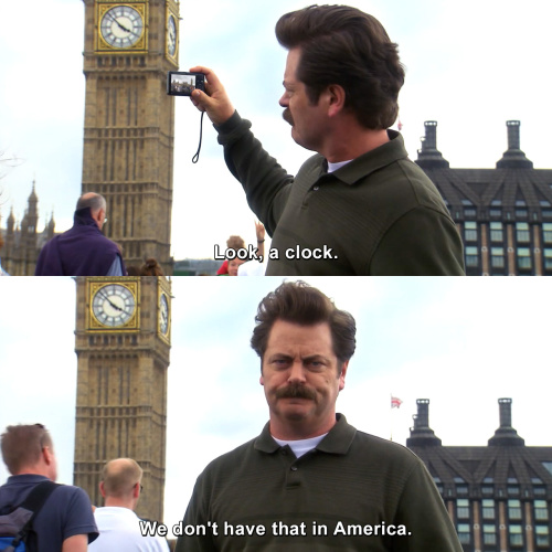 Parks and Recreation - Look, a clock.