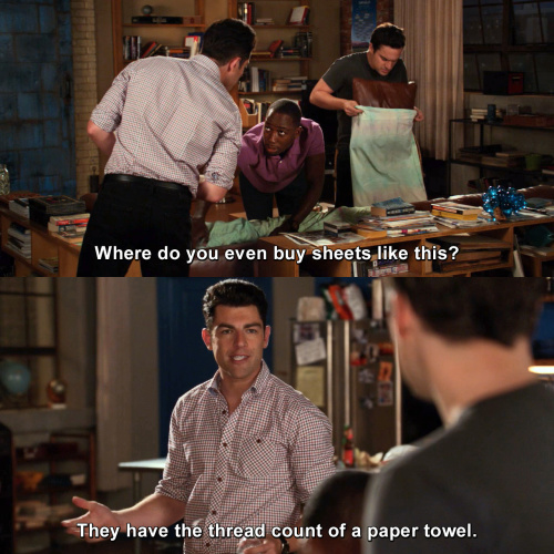 New Girl - Where do you even buy sheets like this?